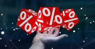 Affärskvinna som använder vita och röda försäljningar som flyger renderin för symboler 3D Arkivbild