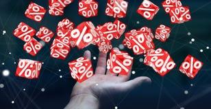 Affärskvinna som använder vita och röda försäljningar som flyger renderin för symboler 3D Royaltyfri Foto
