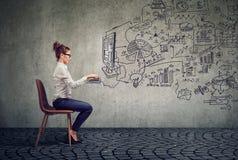 Affärskvinna som arbetar i ett plan för kontorsidékläckningaffär Royaltyfria Bilder