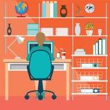 Affärskvinna som arbetar i inrikesdepartementet royaltyfri illustrationer