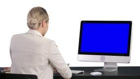 Affärskvinna som arbetar på hennes dator, vit bakgrund Blue Screen modellsk?rm stock video