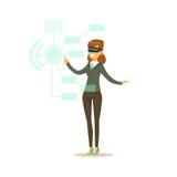 Affärskvinna som bär VR-hörlurar med mikrofon som arbetar i digital simulering, framtida illustration för teknologibegreppsvektor stock illustrationer