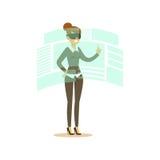 Affärskvinna som bär VR-hörlurar med mikrofon som arbetar i digital simulering och påverkar varandra med 3d visualization, framti stock illustrationer