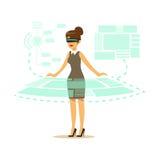 Affärskvinna som bär VR-hörlurar med mikrofon som arbetar i digital simulering och påverkar varandra med 3d visualization, framti vektor illustrationer
