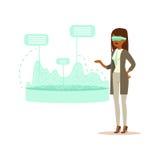 Affärskvinna som bär VR-hörlurar med mikrofon som arbetar i digital simulering som analyserar finansiella resultat, framtida tekn royaltyfri illustrationer