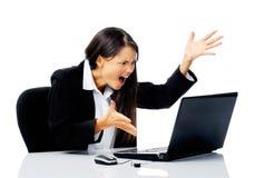 affärskvinna som belastas ut Arkivfoto