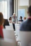 Affärskvinna som diskuterar med kollegor under seminarium Royaltyfri Fotografi
