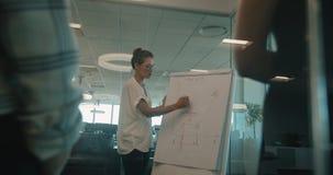 Affärskvinna som förklarar en graf på flipchart lager videofilmer