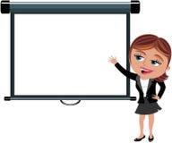 Affärskvinna som framlägger den tomma projektorskärmen Royaltyfri Fotografi