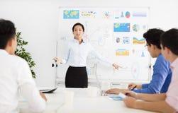 Affärskvinna som framlägger till kollegor på mötet royaltyfri foto