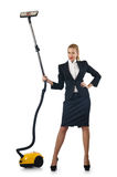 Affärskvinna som gör cleaning på white Arkivfoton