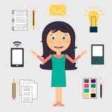 Affärskvinna som gör många uppgifter royaltyfri illustrationer