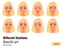 Affärskvinna som gör olika framsidagester Ung attraktiv flicka med olika sinnesrörelser royaltyfri illustrationer