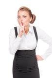 Affärskvinna som gör tystnadtecknet royaltyfria bilder