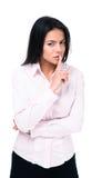 Affärskvinna som gör tystnadtecknet royaltyfri bild