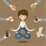 affärskvinna som gör yoga stock illustrationer