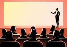 Affärskvinna som ger en presentation på den stora skärmen royaltyfri illustrationer