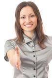 affärskvinna som ger handen Royaltyfri Bild