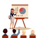 Affärskvinna som ger presentation genom att använda ett bräde stock illustrationer