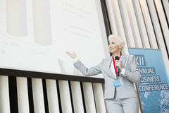Affärskvinna som ger presentation på projektionsskärmen på konventcentret arkivbild
