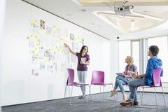 Affärskvinna som ger presentation till kollegor i idérikt kontorsutrymme Royaltyfria Foton
