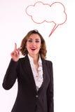 Affärskvinna som har en bra idé Arkivfoto