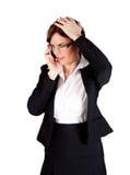 affärskvinna som har nyheterna Arkivfoton