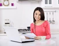 Affärskvinna som hemma arbetar Royaltyfria Bilder