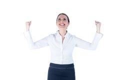 Affärskvinna som hurrar upp med hennes ögon upp Fotografering för Bildbyråer