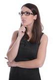 Affärskvinna som isoleras i svartvitt med att se för exponeringsglas Royaltyfria Bilder