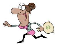 Affärskvinna som kör med pengarpåsen Arkivfoton