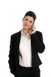 affärskvinna som kallar lyckligt isolerat Arkivfoton