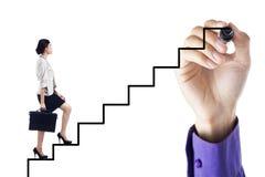 Affärskvinna som kliver upp på stege till framgång Arkivfoto