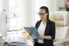 Affärskvinna som kontrollerar data arkivfoto