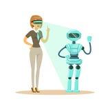 Affärskvinna som kontrollerar humanoidroboten med virtuell verklighethörlurar med mikrofon, framtida illustration för teknologibe vektor illustrationer