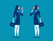 Affärskvinna som meddelar till och med tenn- cans Begreppsaffär c royaltyfri illustrationer