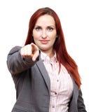 Affärskvinna som pekar på dig Royaltyfri Bild