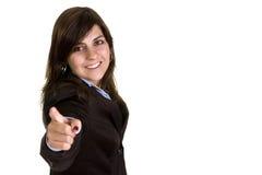 affärskvinna som pekar till dig som är ung Royaltyfri Fotografi