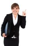 Affärskvinna som pekar upp Royaltyfria Bilder