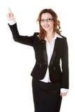 affärskvinna som pekar upp arkivbild