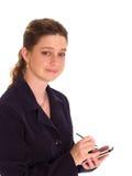 affärskvinna som räcker pda royaltyfria foton