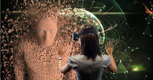 Affärskvinna som ser bilden 3d till och med VR-exponeringsglas Arkivfoton