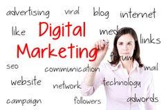 Affärskvinna som skriver digitalt marknadsföringsbegrepp Isolerat på vit Royaltyfria Foton
