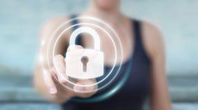 Affärskvinna som skyddar hennes data med den beträffande säkerhetsmanöverenheten 3D Arkivbilder