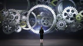 Affärskvinna som står stora kugghjulhjul, förbindande kugghjulhjul stock illustrationer