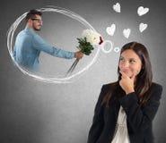 Affärskvinna som tänker om pojkvän Arkivbilder