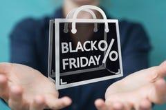 Affärskvinna som tycker om den svarta tolkningen för fredag försäljningar 3D Arkivbild