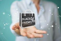 Affärskvinna som tycker om den svarta tolkningen för fredag försäljningar 3D Arkivfoto