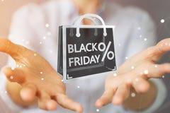 Affärskvinna som tycker om den svarta tolkningen för fredag försäljningar 3D Royaltyfri Foto