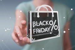 Affärskvinna som tycker om den svarta tolkningen för fredag försäljningar 3D Royaltyfria Bilder